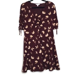 Lauren Conrad burgundy floral ruched dress